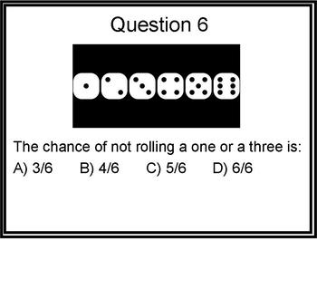 Chance and data (probability) multiple choice math test