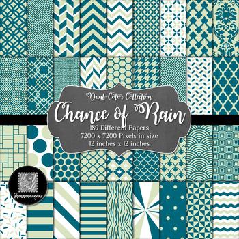 12x12 Digital Paper - Color Scheme Collection: Chance of Rain (600dpi)