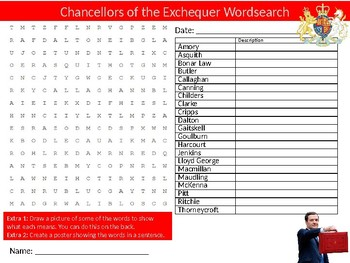 Chancellors of the Exchequer Wordsearch Sheet Starter Activity Keywords