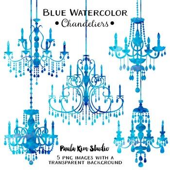 Chandelier Clip Art - Blue Watercolor