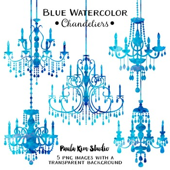 Chandelier Clip Art - Blue Watercolor