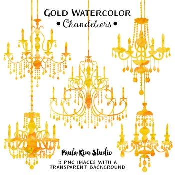 Chandelier Clip Art - Golden Yellow Watercolor