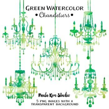 Chandelier Clip Art - Green Watercolor