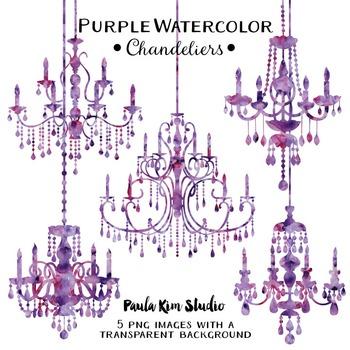 Chandelier Clip Art - Purple Watercolor