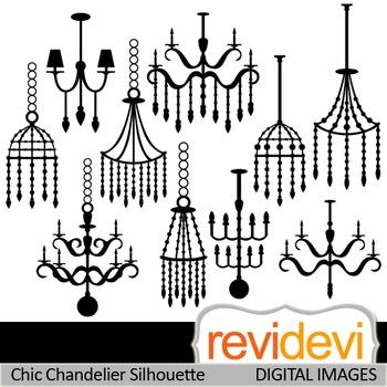 Chandelier Clip art - Chic Chandelier Silhouette Clipart