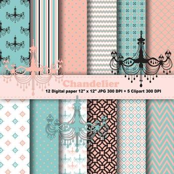 Chandelier Digital Paper + Clipart