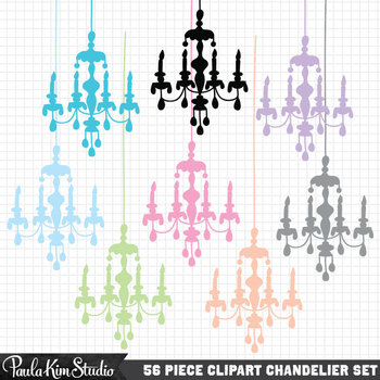 Clipart - Bright Chandelier Silhouettes