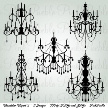 Chandelier Silhouettes Clip Art - Commercial and Personal Use