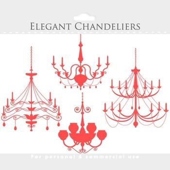 Chandelier clipart - vintage chandeliers clip art, elegant, ornate, black, pink