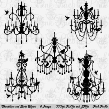 Chandelier with Birds Silhouettes Clip Art - Commercial and Personal Use