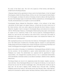 Chandragupta Maurya Article Biography and Assignment