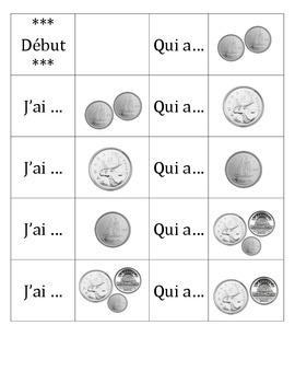 Chaîne parlée (Question and Answer race cards) - L'argent