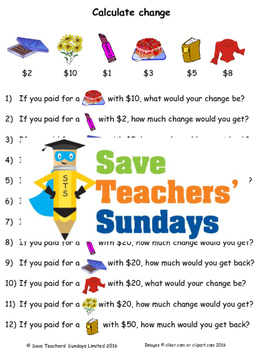 Change word problems worksheets (4 levels of difficulty)