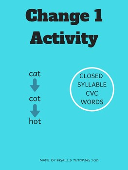 Change 1 Phoneme Manipulation Activity-Closed Syllables