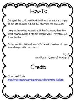 Change-A-Word: Build CVC Word Books (2 sounds)