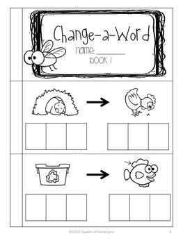 Change-A-Word: Build CVC Word Books Beginning Sound