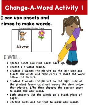 Change-A-Word Hands-On Games/Activities Using Onset and Rime Cards