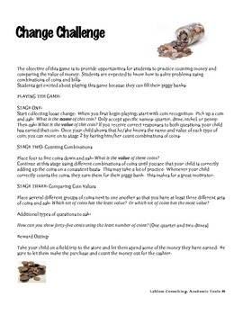 Change Challenge Game:   Coin recognition, counting change, money