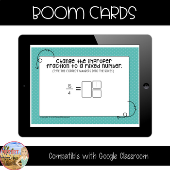 Change Improper Fractions to Mixed Numbers - Boom Cards