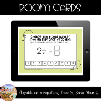 Change Mixed Numbers to Improper Fractions - Boom Cards