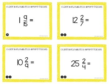 Change Mixed Numbers to Improper Fractions Task Cards for 5th Grade