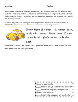 Change Unknown (missing addend) Story Problems in English and Spanish