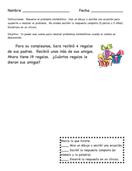 Change Unknown (missing addend) Story Problems in Spanish Only