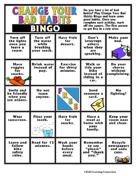 Healthy Habits: Change Your Bad Habits Bingo