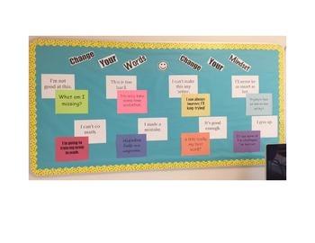 Change Your Words, Change Your Mindset Bulletin Board