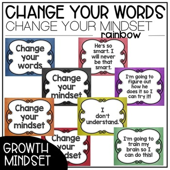 Chalk Change Your Words, Change Your Mindset Posters {Bundle}