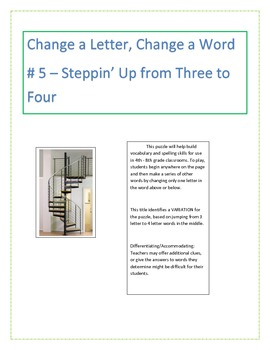 Change a Letter, Change a Word - Puzzle # 5