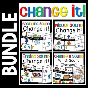 Change a Sound Bundle- Phoneme Substitution - CVC Word Activities