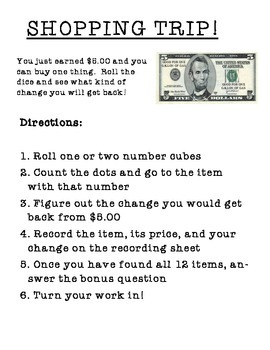 Change from five dollars