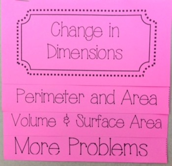 Change in Dimensions Flip Book Foldable