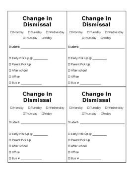 Change in Dismissal