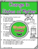 Change in States of Matter Test