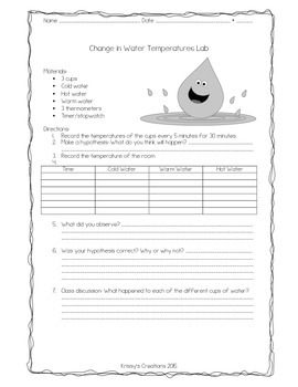 Change in Water Temperature Lab
