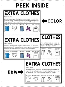 Parent Note - Change of Clothes