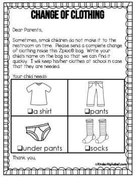 Change of Clothing Parent Letter- English and Spanish