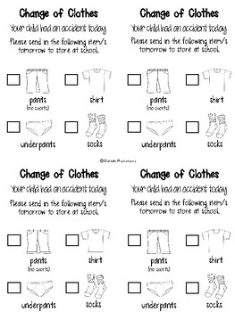 Change of Clothing Parent Letter {FREEBIE}