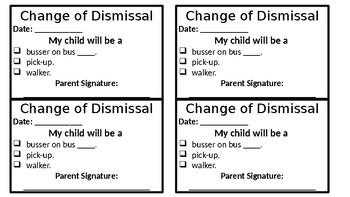 Change of Dismissal Form