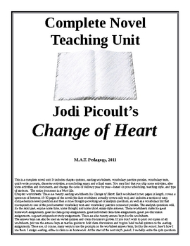 Change of Heart Teaching Unit. Jodi Picoult lesson plans, 149 pages.