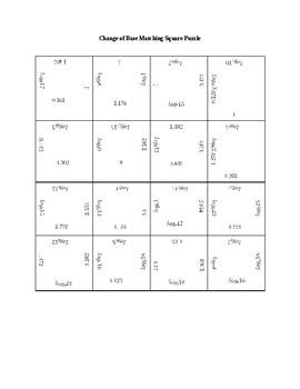 Change of Base Square Puzzle Activity