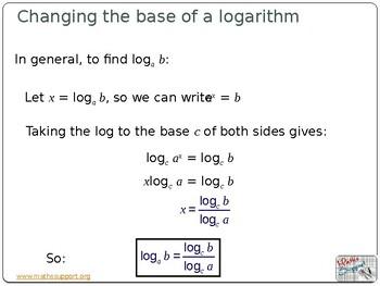 Change the base of a logarithm