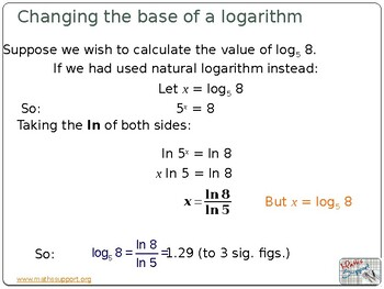 Change the base of a logarithm