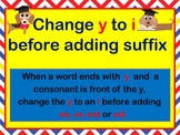 "Change ""y"" to ""i"" before -ed, es,er,est PowerPoint"