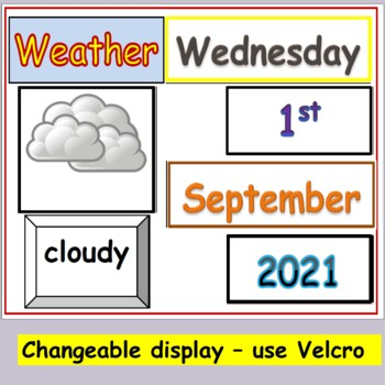 Calendar, Days, Months, Dates, Title Displays, Weather Words, Pictures