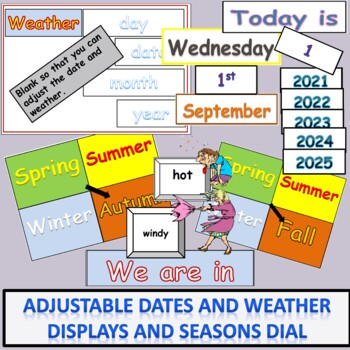 Adjustable Calendar Days Months Dates Title Wall Displays Weather Words Pictures