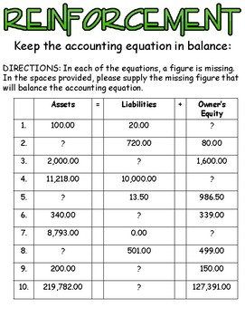Changes Affecting The Accounting Equation