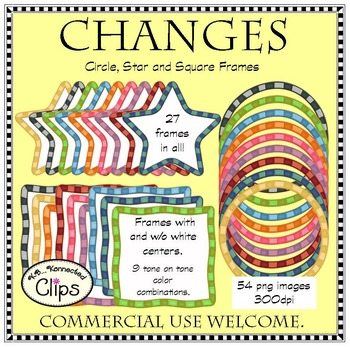 Changes - Circle, Star, and Square Striped Frames - clip art